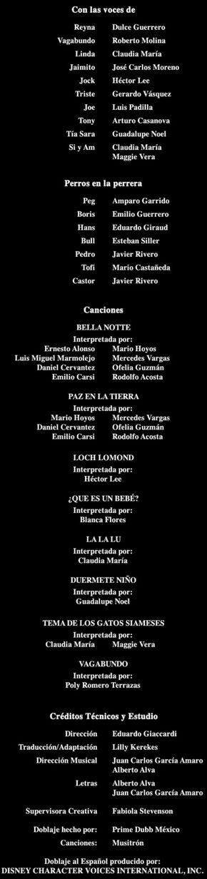 Doblaje Latino de La Dama y el Vagabundo (Redoblaje 1997) (Edición Diamante 2012)