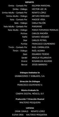Doblaje Latino de El Rey León (Edición Diamante 2011)