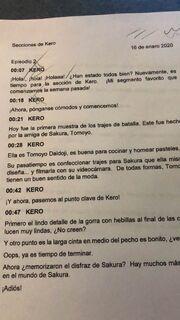 Script del redoblaje del año 2020 de La seccion de Kero