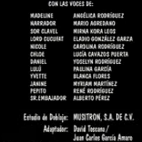 Créditos de Doblaje (Versión Disney).