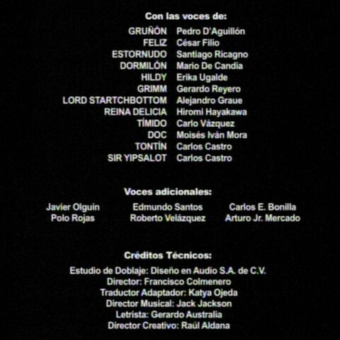 Créditos de doblaje de la primera temporada.