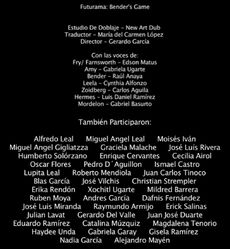 Doblaje Latino de Futurama El Juego de Bender