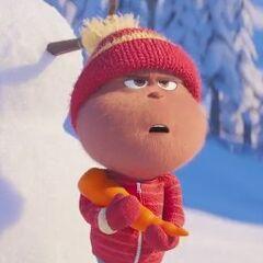 Niño Quien con muñeco de nieve en <a href=