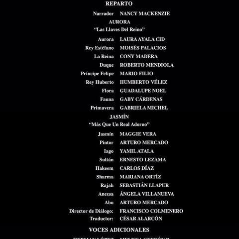 Créditos de doblaje del DVD.