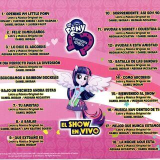 Lista de Canciones Oficiales del Show en Vivo.