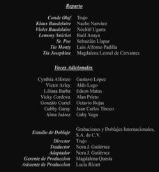 Doblaje Latino de Lemony Snicket Una Serie de Eventos Desafortunados