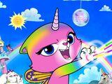 La gata unicornio mariposa arcoiris