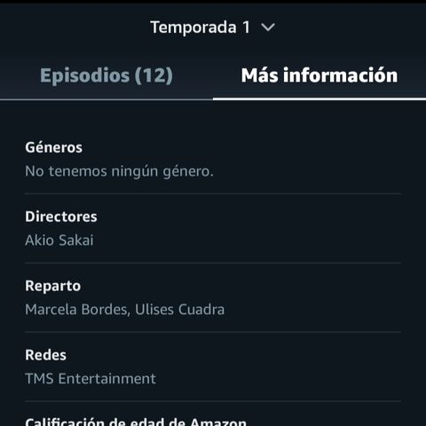 Información en Prime Video acreditando a <a href=