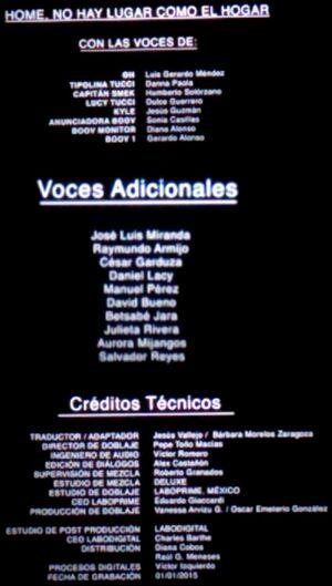 Doblaje Latino de HOME No hay Nada como el Hogar (Versión Cine)