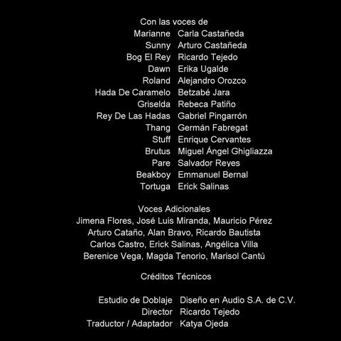 Créditos del DVD.