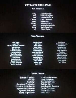 Baby Driver - Créditos del cine