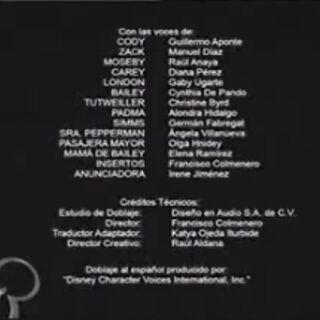 Créditos del Doblaje de la Primera Temporada.