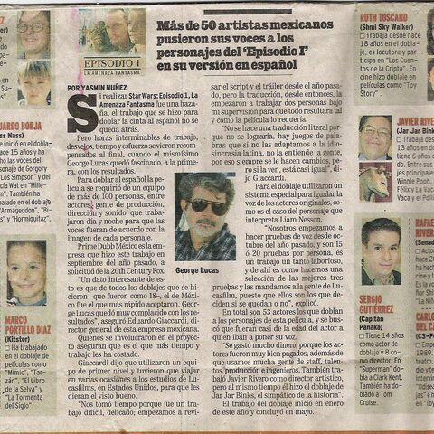 Artículo sobre el doblaje de Star Wars en un periódico mexicano.
