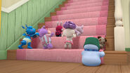 Baby toys climb up the stairs