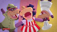 Animated hallie the nurse in front of three hallies
