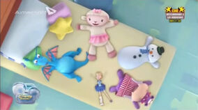 The toy gang pretending doing snow angels