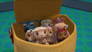 Four main toy characters and the baby toys in the baby bag