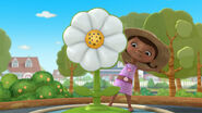 Doc by the flower sprinkler