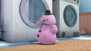 Chilly as a pink snowman
