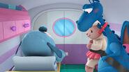 Lambie, stuffy and boppy inside the ambulance