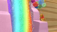 Winnie the pooh goes into the rainbow waterfall
