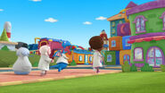 Doc, stuffy, lambie and chilly go into the barbershop
