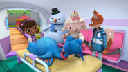 Stuffy, lambie, chilly and darla in the ambulance