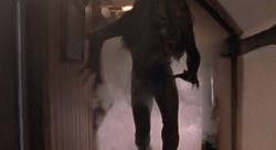Werewolf running from smoke