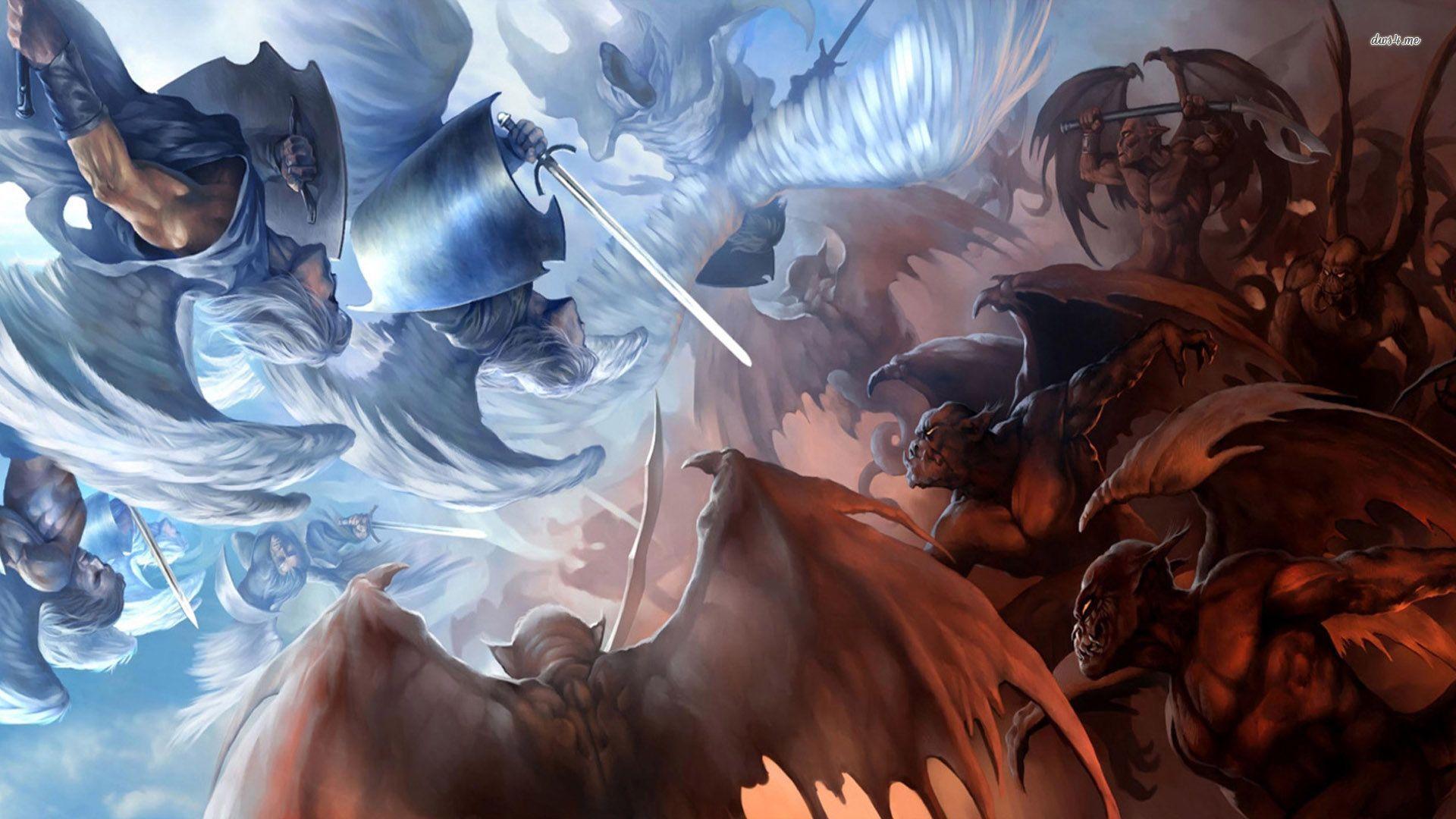 Kết quả hình ảnh cho the fight between angel and devil anime