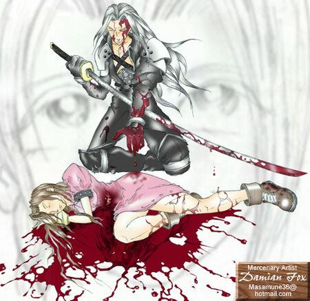 Fanart ff7 Sephiroth killing Aerith