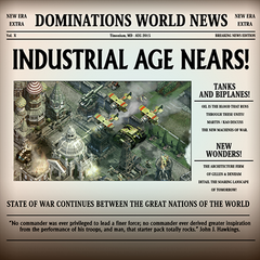 Newspaper announcing the release of the Industrial Age.