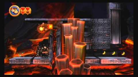 Donkey Kong Country Returns ~ World 8-1 (Furious Fire) Puzzle Piece K-O-N-G Letters Guide-0