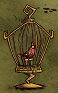 Redbird in bird cage
