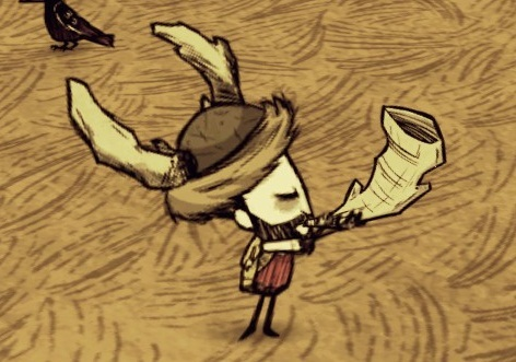 ファイル:Wilson blowing Beefalo Horn.jpg