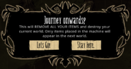 Journey forwards prompt from Activated Wooden Thing