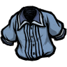 Schematic Blue Pleated Shirt Icon