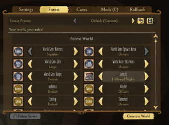 World Creation Menu 2