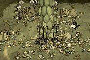 Использование ноги для добычи камня