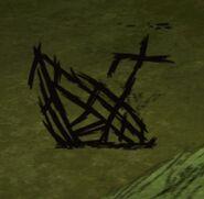 Сгоревшая затонувшая лодка