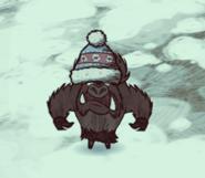 Werepig wearing winter hat