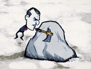 Максвелл разрушает киркотопором валун