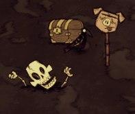 Скелет с сундуком и головой свина