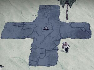 Island with dead pirates and a cross