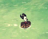 Wilson on armboat