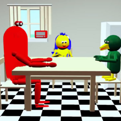 Yellow Guy and Bird Puppet begin to grow up