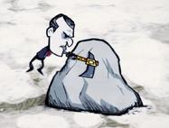 Maxwell rozbijający skałę siekierokilofem