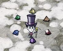 Wilson otoczony wszystkimi kryształami w grze