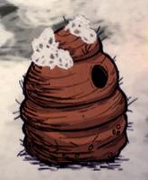 Ośnieżone gniazdo pszczół