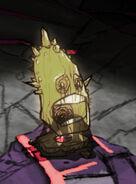 Rozświetlony antyczny pomnik głowy