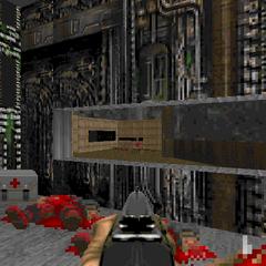 Двор (секрет #4), видимый из коридора в конце уровня